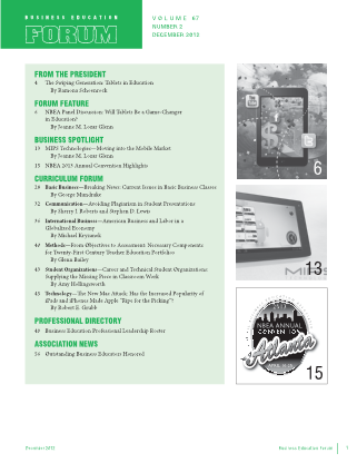 Business Education Forum - Volume 67, Number 2, December 2012