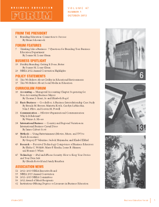 Business Education Forum - Volume 67, Number 1, October 2012