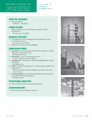 Business Education Forum - Volume 69, Number 2, December 2014
